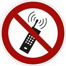 Forbudsskilt, mobiltelefon forbudt,  Ø200 mm, plast, 10-pk