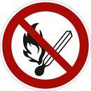 Forbudsskilt, rygning og åben ild forbudt,  Ø200 mm, aluminium, 10-pk