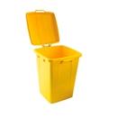 Affaldsbeholder Selje 90 liter, BxDxH 485x535x645mm, gul med gult låg